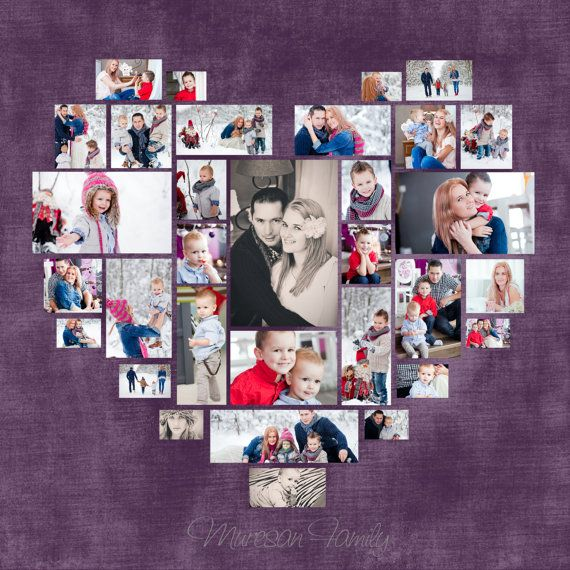 4 Diferent Heart Photo Collage Template PSD. Valentine's