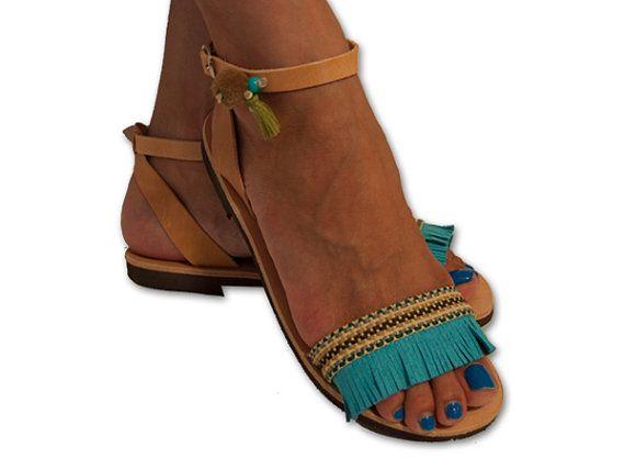 Turquoise Greek Sandals , Boho Sandals , Bohemian Sandals , Fringed Sandals, Leather Sandals , Pom pom sandals , RHODES