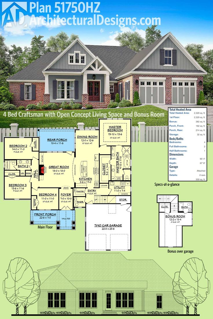 25 best ideas about open floor concept on pinterest for Open concept craftsman house plans