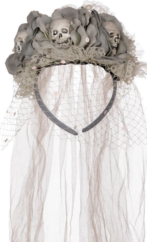 Ghost Bride Skull Veil Headband Couture - Party City