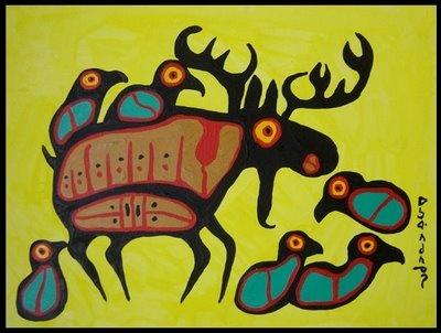Norval Morrisseau, Shaman artist.  moose bird art inuit eskimo canada