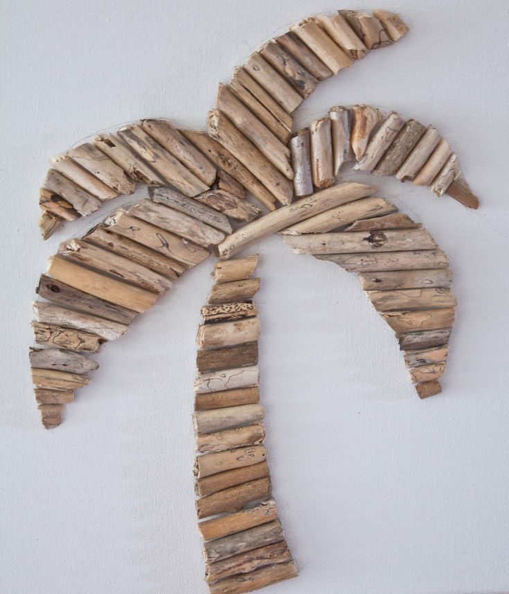 Palm tree driftwood art on 12x12 canvas