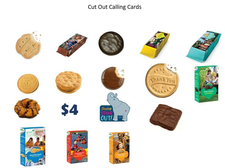 Girl Scouts Cookie Bingo - Calling Cards for 12 sheets