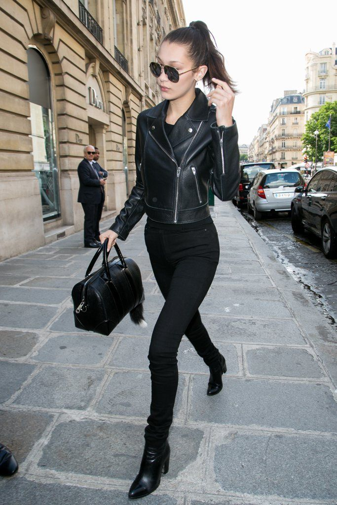 Every model likely owns a black leather jacket. Time to get one of your own.  Image Source: Getty / Marc Pi...