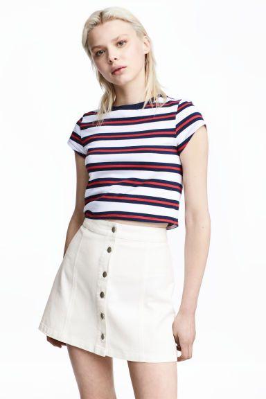 Krátke džersejové tričko - tmavomodrá/biela pruhovaná - ŽENY   H&M SK 1