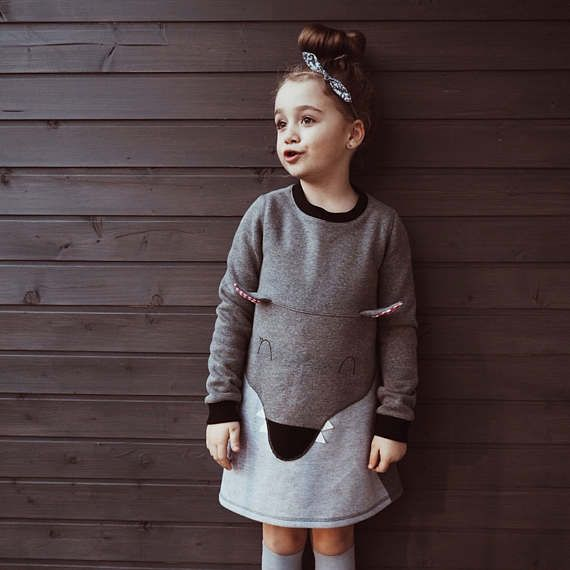 DESIGN BY LADY STUMP, hnadmade in Poland  #Wolf dress #for kids, #gray, #animal sweetshirt, #t-shirt, #wolf, #for kids, #dots, #for girl, #girl, #handmade, #kids, #gift, #sweatshirt #ladystump