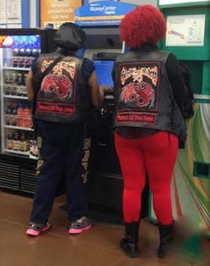 No Way Girl Red Leggings & Red Hair on People of Walmart Fashion Fail Nailed It - Funny Pictures at Walmart