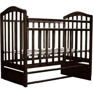 """Антел """"Алита-5"""" продольный маятник (венге)  — 5340р. ----------- Тип кроватки кроватки с продольным качанием    Возраст ребенка От 0 месяцев  Пол ребенка унисекс  Материал дерево  Ящик под кроватью нет  Матрас в комплекте нет  Опускающаяся стенка да  Съемная передняя стенка да  Вынимающиеся рейки нет  Силиконовые накладки да  Число уровней высоты днища 2  Комод нет  Пеленальный стол нет"""