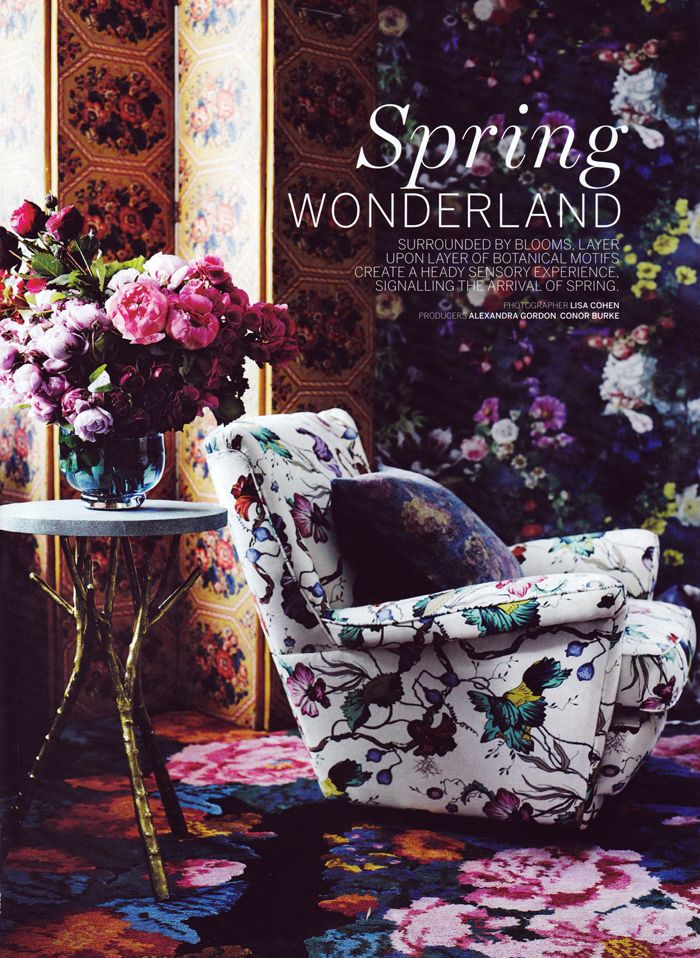 Vogue Living Australia's September/October issue features EDIT's 'French Floral' chair in its beautiful spring feature.  EDIT vintage wingback chair in 'French Floral', $2600. In store now.