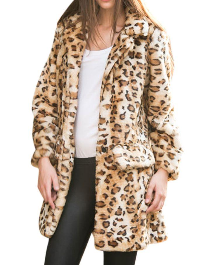 Leopard-pattern/Solid-tone Md-long Faux Fur Coat | BlackFive