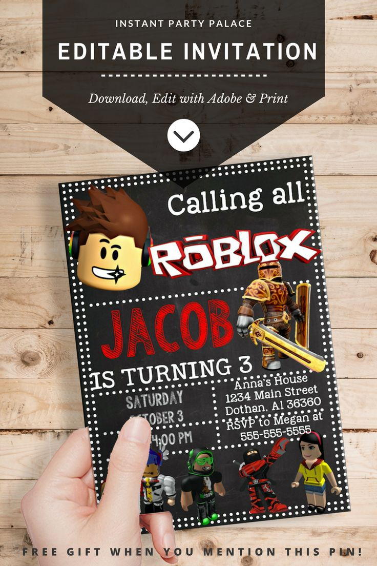 DIY Roblox Invitation Instantl Download and Editable Text. No Waiting on Designs and Proofs. Personalise your Roblox Birthday Invite Today Simply Download, Edit and Print! You can edit and personalize the downloaded PDF files at home with Adobe Reader. Custom Roblox Birthday Invite, Roblox Party, Roblox Cake.