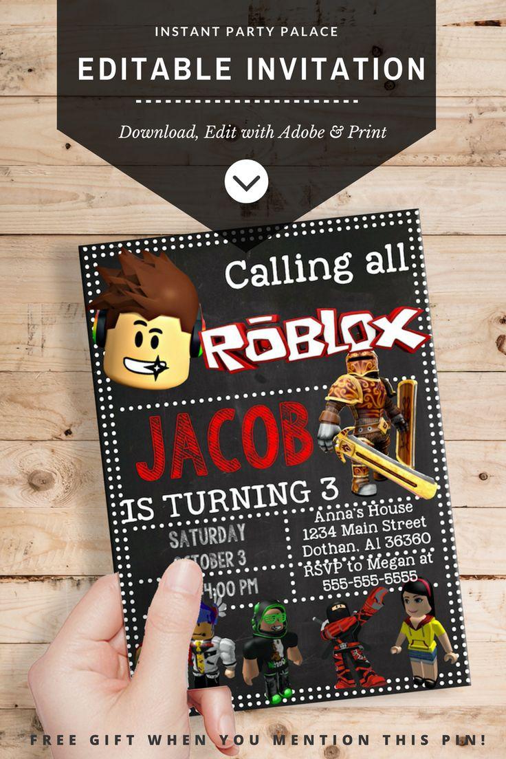DIY Roblox Invitation Instantl Download and Editable Text