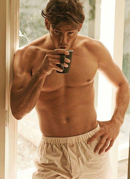 sexy man drinking coffee