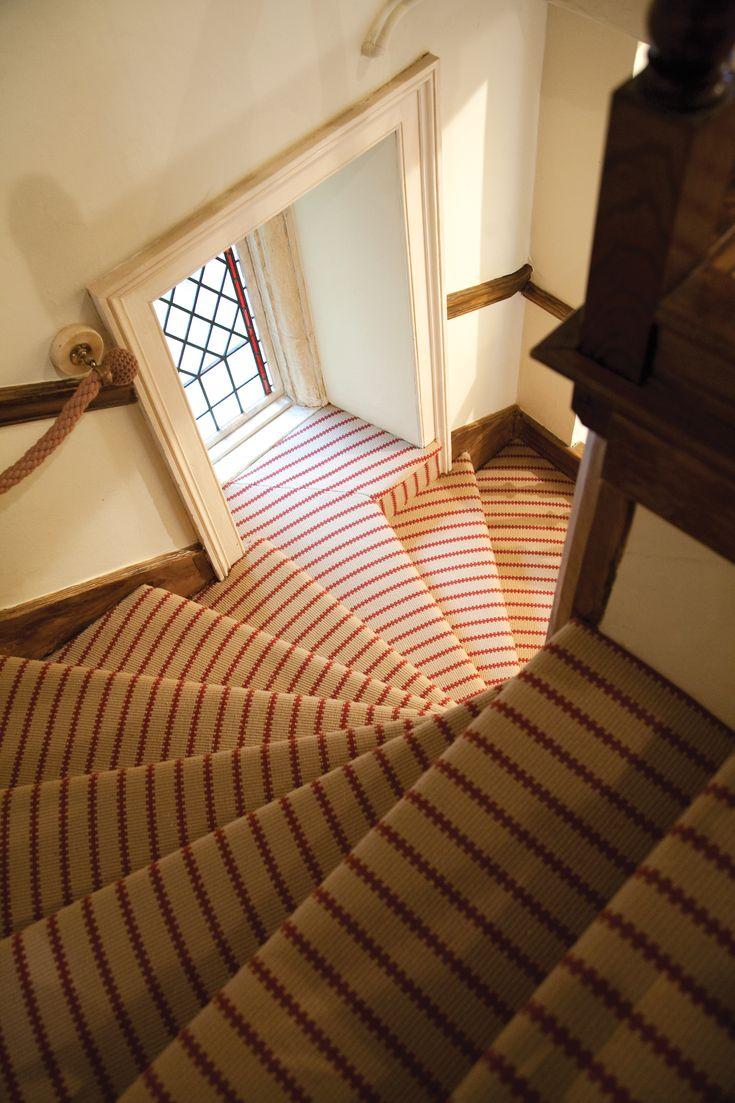 Hartley & Tissier Stripes Flatweave ZIP06 Stair runner carpet installed by Capitol Carpets of Chelsea.