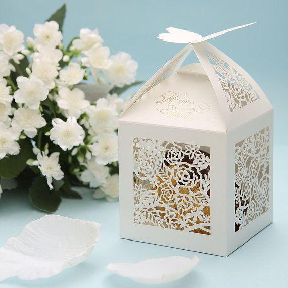 Wedding Favor Gift Boxes: 100 Pcs White Lace Butterfly Wedding Favor Boxes; White