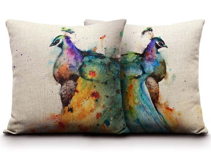 Find More Cushion Information about Watercolor Oil Painting Peacock Cushion  Cover Chinese Style Bird Pillow Case