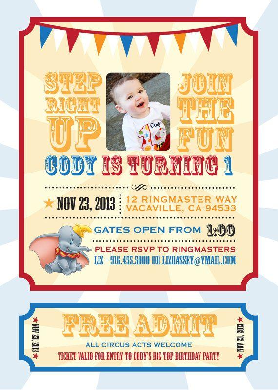 Dumbo Circus Personalized Birthday Invitation - With PHOTO - PRINTABLE- Digital File, 5x7