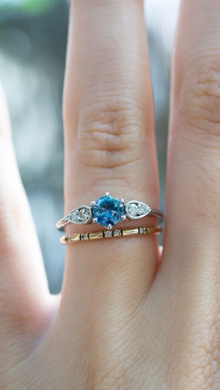 How would you wear your sapphire & vintage diamond engagement ring? By S.Kind & Co.