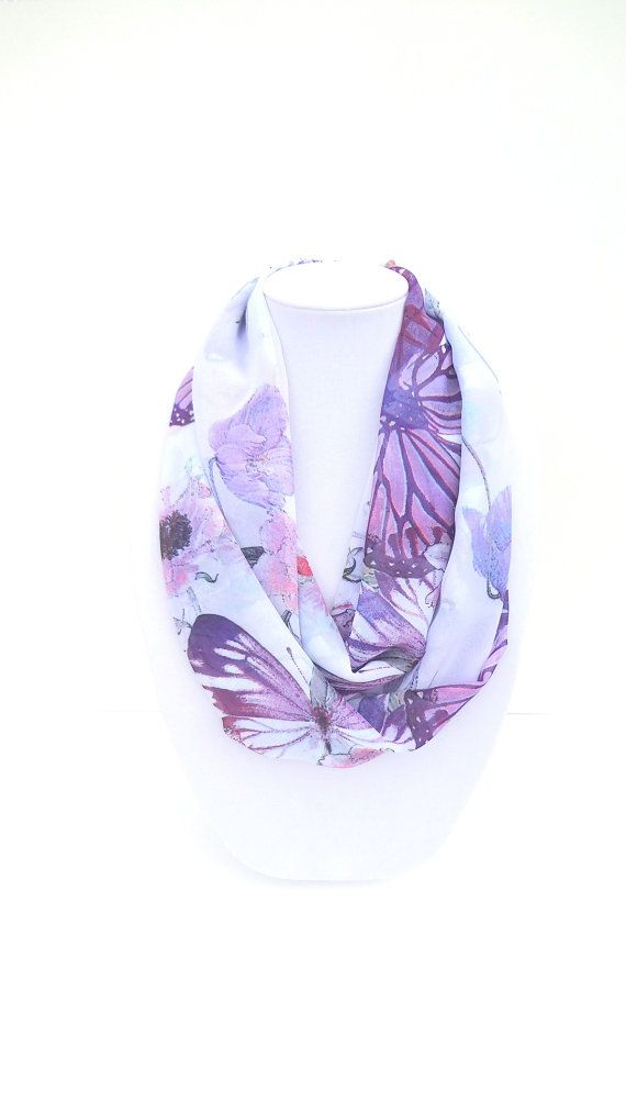Butterfly Scarf Summer Infinity Scarf Floral by FashionelleStudio