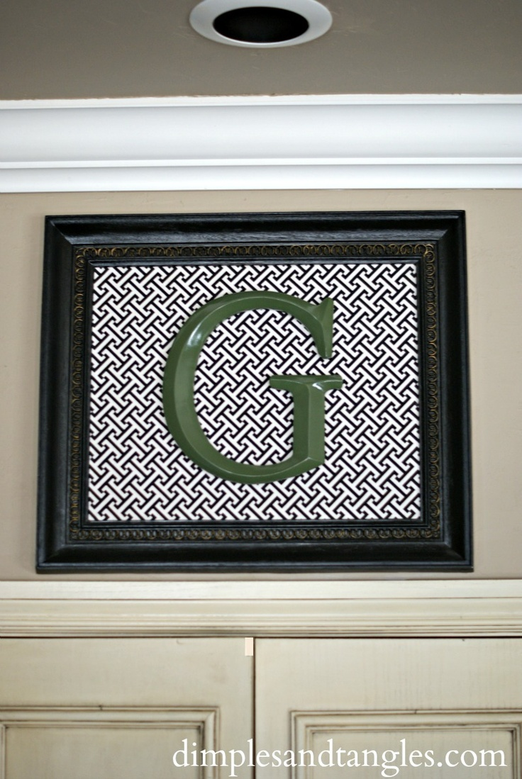 DIY FRAMED INITIAL ART-  great personalized gift