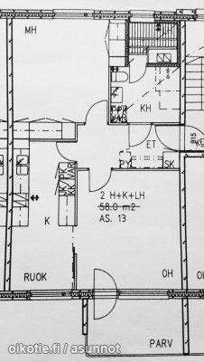 2 rooms + kitchen + sauna + balcony (58m2) / Kaksio erillisellä keittiöllä, saunalla ja parvekkeella (58m2) #kaksio #pohjapiirros #floorplan