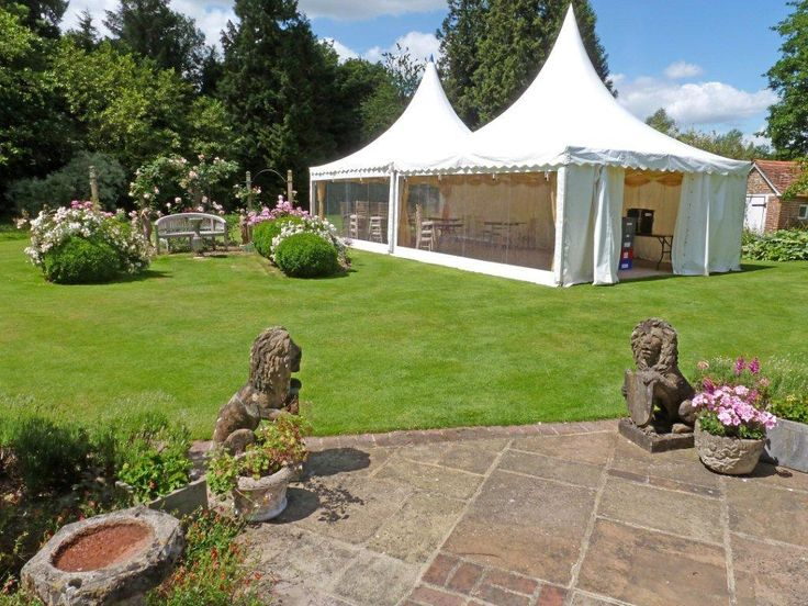 Double up our 6m x 6m Oriental canopies to create the perfect space for a garden celebration.