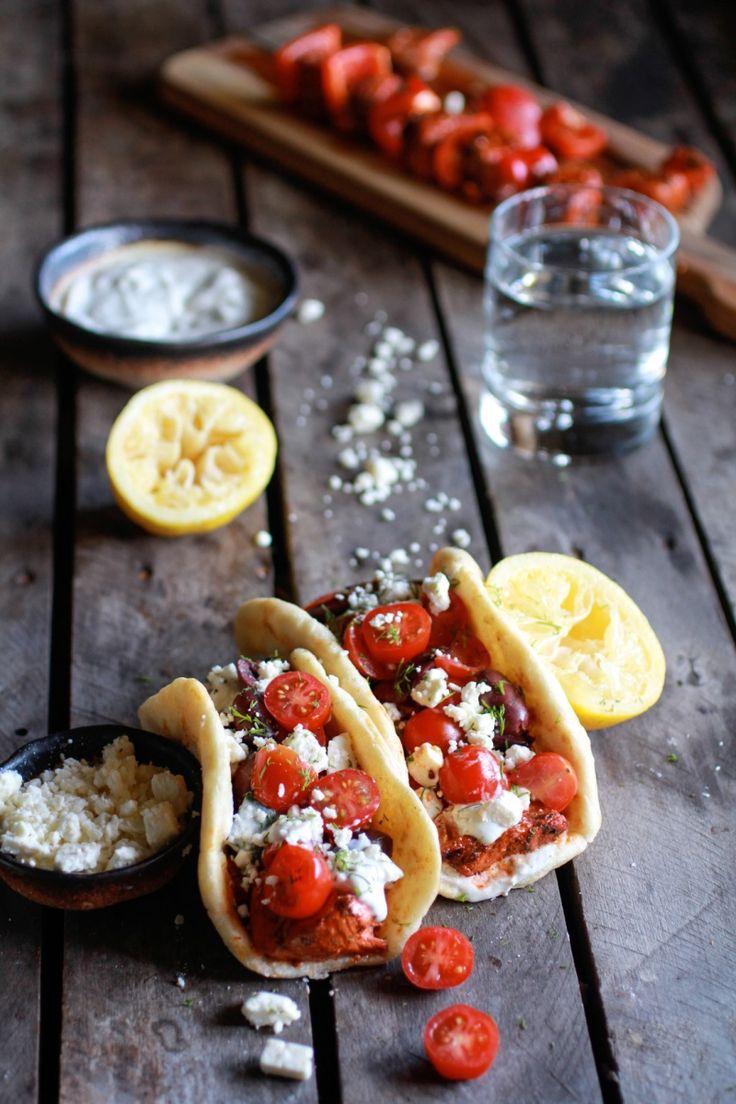 Greek salmon souvlaki gyros with tzatziki. | Half Baked Harvest