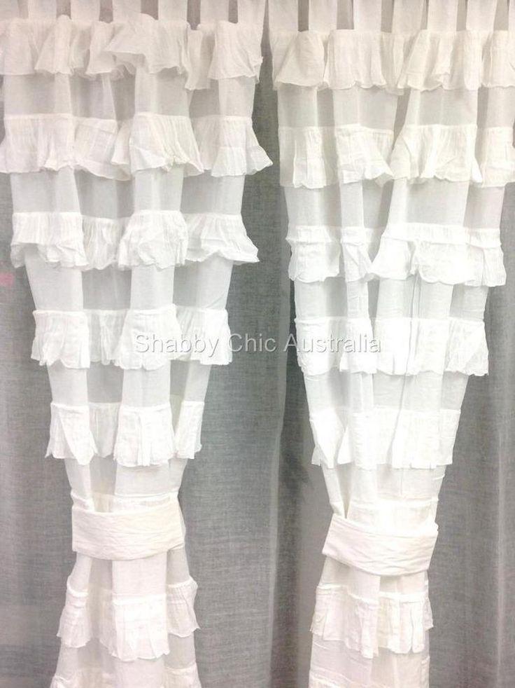 Shabby Girls Petticoat Ruffle Curtains Drapes Sheer White 2 Ruffled Panels Chic