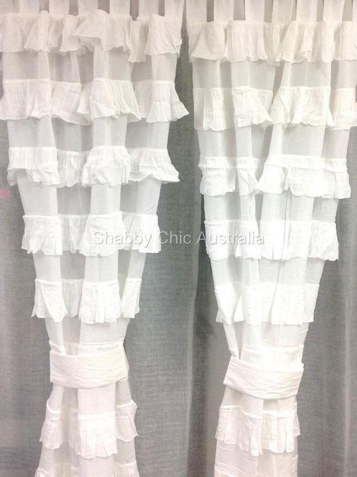 Shabby Girls Petticoat Ruffle Curtains Drapes Sheer White 2 Ruffled Panels Chic