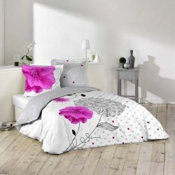 Housse Couette 220x240 cm 100%coton eclat fleur rose et gris Boutique mobile