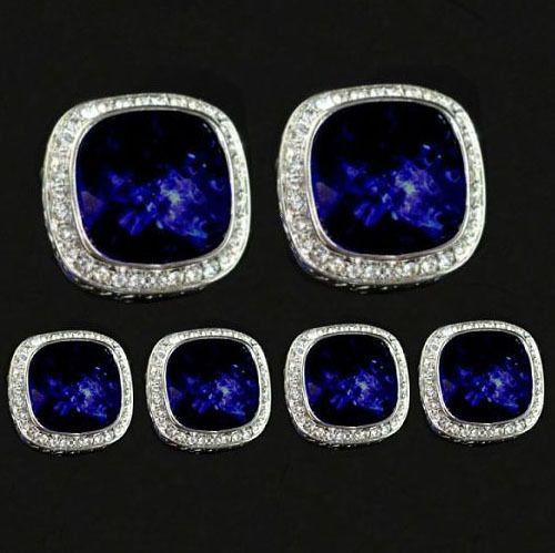 925 sterling Silver Natural Sapphire & Topaz Gemstone Men's Cufflinks &  Button  #Ratnam