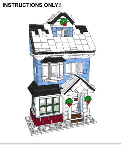 Lego Custom Winter Village Victorian House Cottage Instructions Only Holiday | eBay