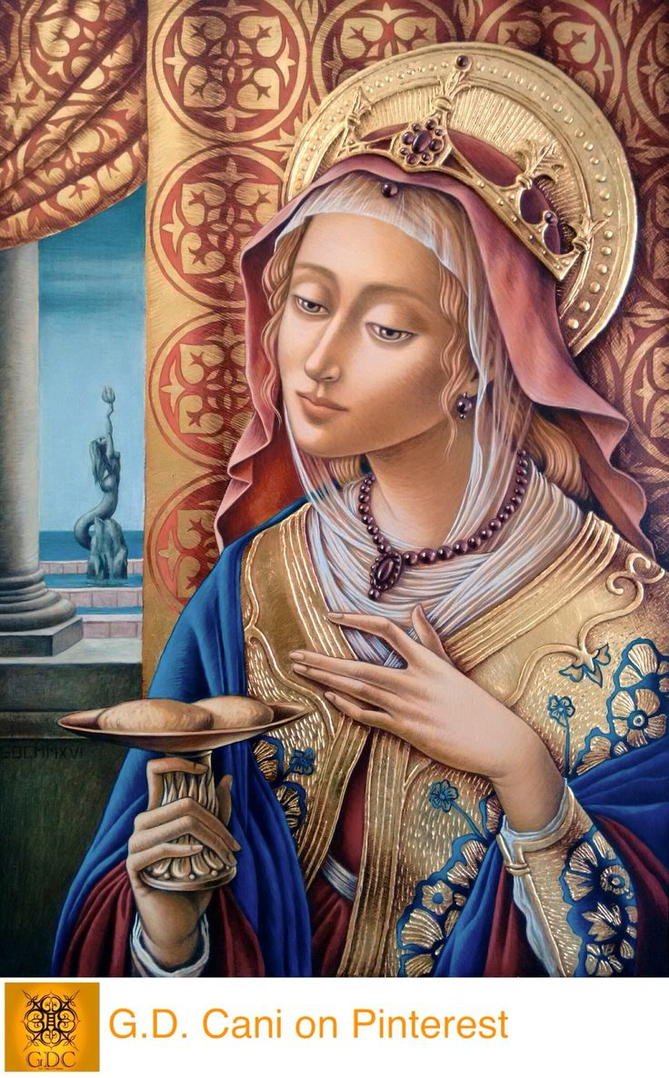 Giada  Dalli Cani - St Agatha - 2016. Complete panel, some elements appropriated from Vittore Crivelli's St Catherine 1480 c.a.