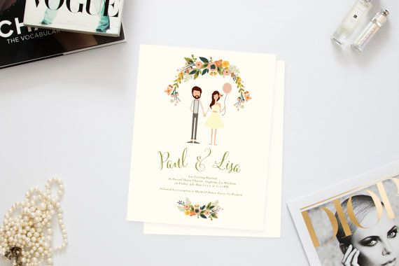 Playful Couple Wedding Invites /// Illustrated Couples Portrait