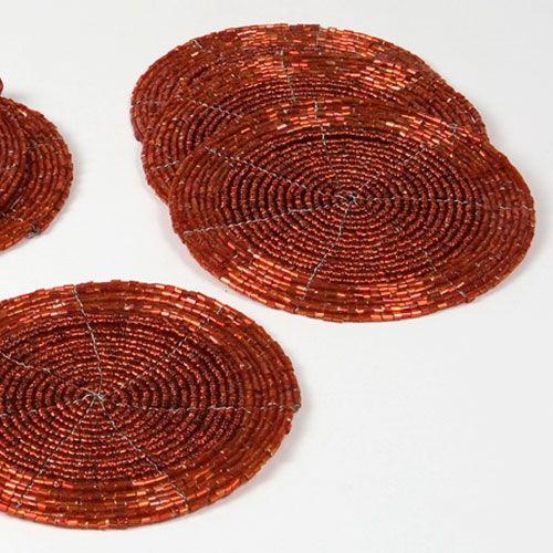 Porta-Copos Makassar Vermelho - 6 Peças - em Miçangas - 10x10 cm