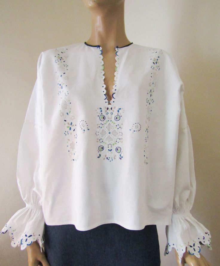 Vintage Romanian / Croat / Croatian hand embroidered blouse from Banat - L size  For sale at www.greatblouses.com