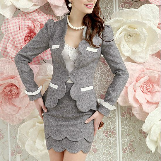 fashion2014 casacos femininos women office suits blazer with skirts ladies elegant business clothing sets plus size freeshipping US $102.00