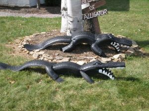 """Tire Alligator, one sturdy enough to climb or """"ride"""" on would be fun for the kiddos"""