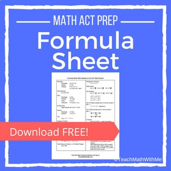 ACT Math Formula Sheet - FREE