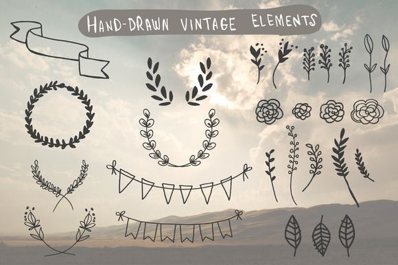 Check out Hand-Drawn Vintage Elements by DrawBabyDraw on Creative Market