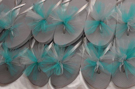 Custom WEDDING Flip Flops, BRIDESMAID Flip Flops, Simple & Elegant Tulle Flip Flops, Bridesmaid Gifts, Bridal Party Gift, Beach Weddings