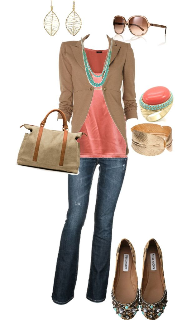 Coral, blue, and beige