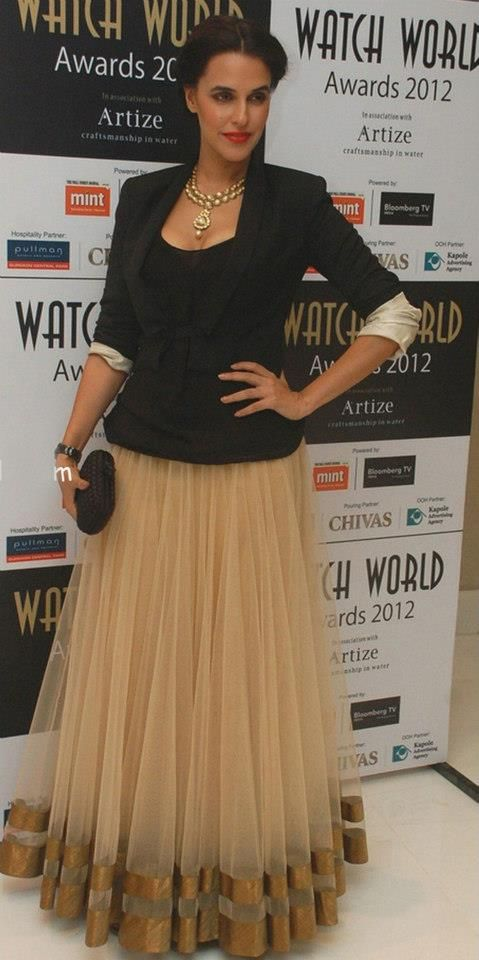 Anita Dongre skirt paired with a smart blazer