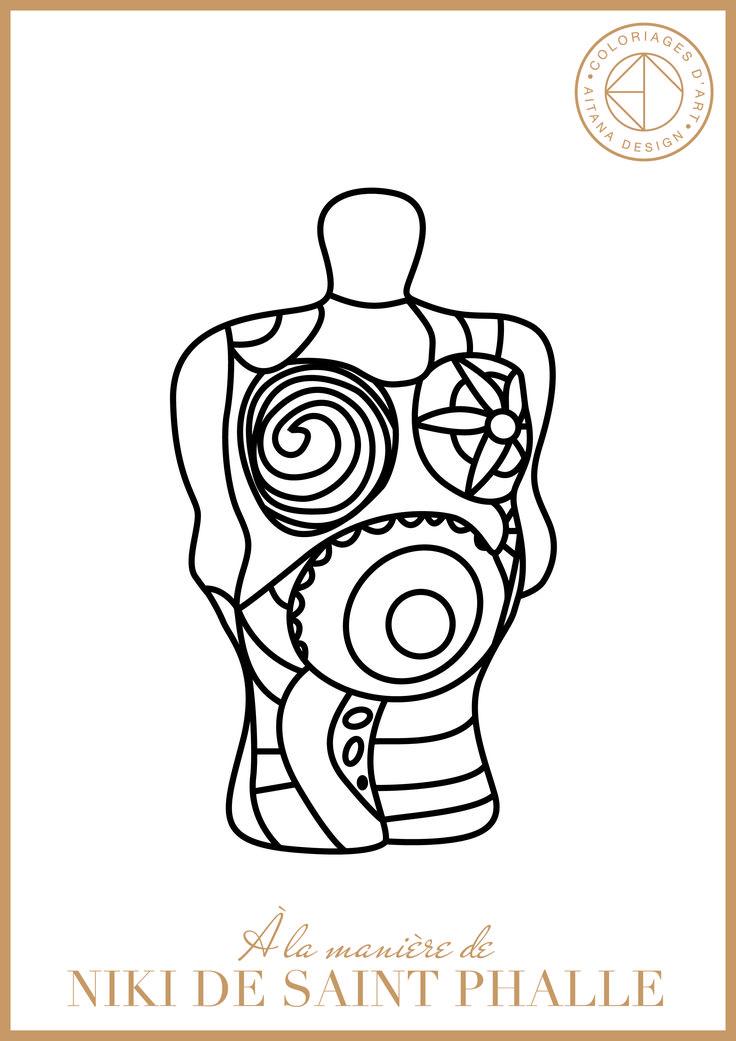 9 best niki de st phalle ok images on pinterest doodle coloring draw and adult coloring pages - Dessin de saint ...