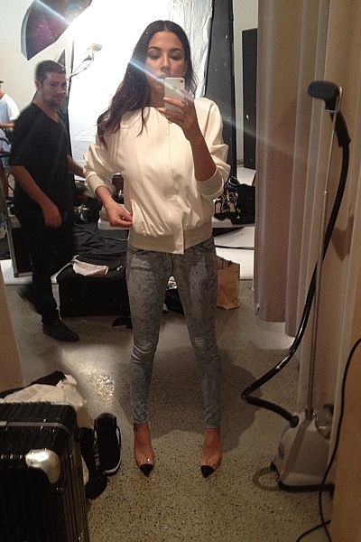"""""""At work for David Jones. Bassike bomber, J Brand jeans and Sophia Webster heels."""""""