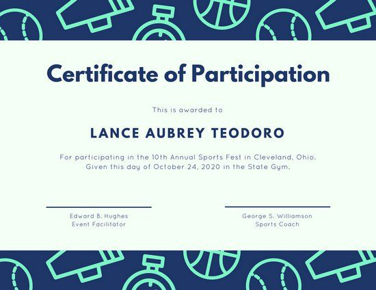 Teal Navy Illustrated Sports Certificate