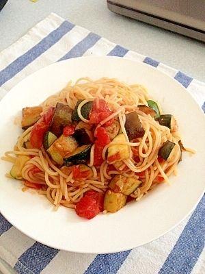 茄子とズッキーニのアラビアータ風トマトパスタ♪ レシピ・作り方 by まめもめ|楽天レシピ