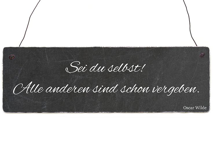 Dekoschild OSKAR WILDE Zitat SEI DU SELBST von Interluxe via dawanda.com