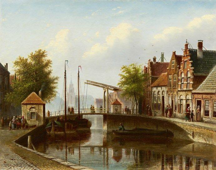 Johannes Franciscus Spohler (Rotterdam 1853-1894 Amsterdam) A Dutch canal with a drawbridge - Dutch Art Gallery Simonis and Buunk Ede, Netherlands.