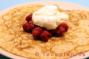 "Recept på goda pannkakor...if you click on ""translate"" to English, it will but keep in mind that 1 dl= 100 ml, and that there are 250 ml in a cup.  It will translate ingredients and the methods of preparation properly, but not the dl (cups).  Great recipe!"